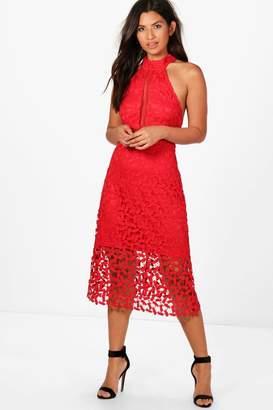 boohoo Boutique Em Lace Panelled Midi Skater Dress