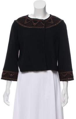 St. John Collarless Embroidered Jacket