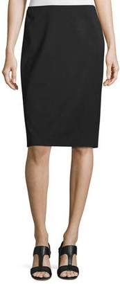 Lafayette 148 New York Modern Slim Crepe Skirt, Black, Plus Size