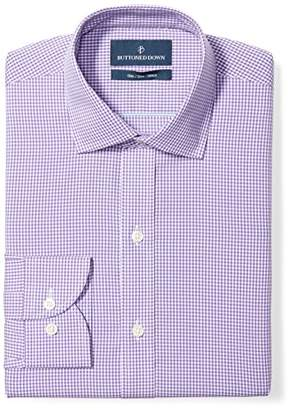 Buttoned Down Men's Slim Fit Gingham & Stripe Pattern Non-Iron Dress Shirt