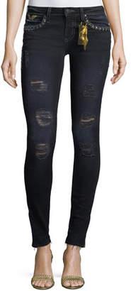 Robin's Jeans Marilyn Distressed Studded Skinny Jeans w/ Zip Cuffs