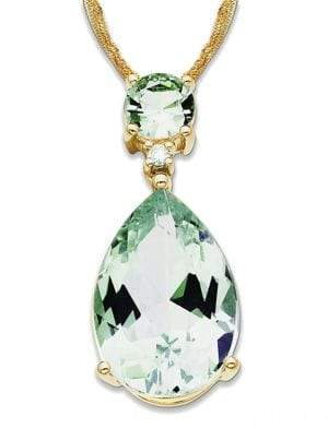 Lord & Taylor 14K Gold Diamond and Green Amethyst Necklace