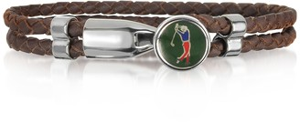 Forzieri Green Golfer Brass and Leather Men's Bracelet