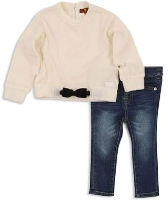 7 For All Mankind Girls' Bow Sweatshirt & Skinny Jeans Set - Baby