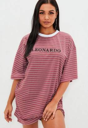 Missguided Red Striped Leonardo Graphic T Shirt Dress