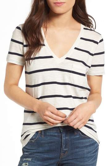 Women's Madewell Whisper Cotton V-Neck Pocket Tee