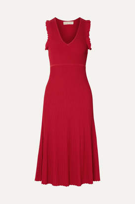 MICHAEL Michael Kors Ruffled Ribbed-knit Midi Dress - Red