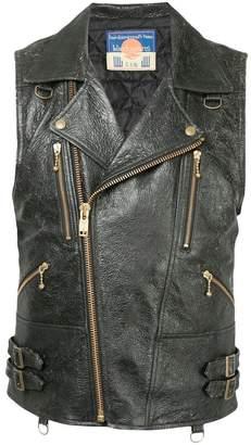 Blackmeans Black Means off-centre front zip gilet