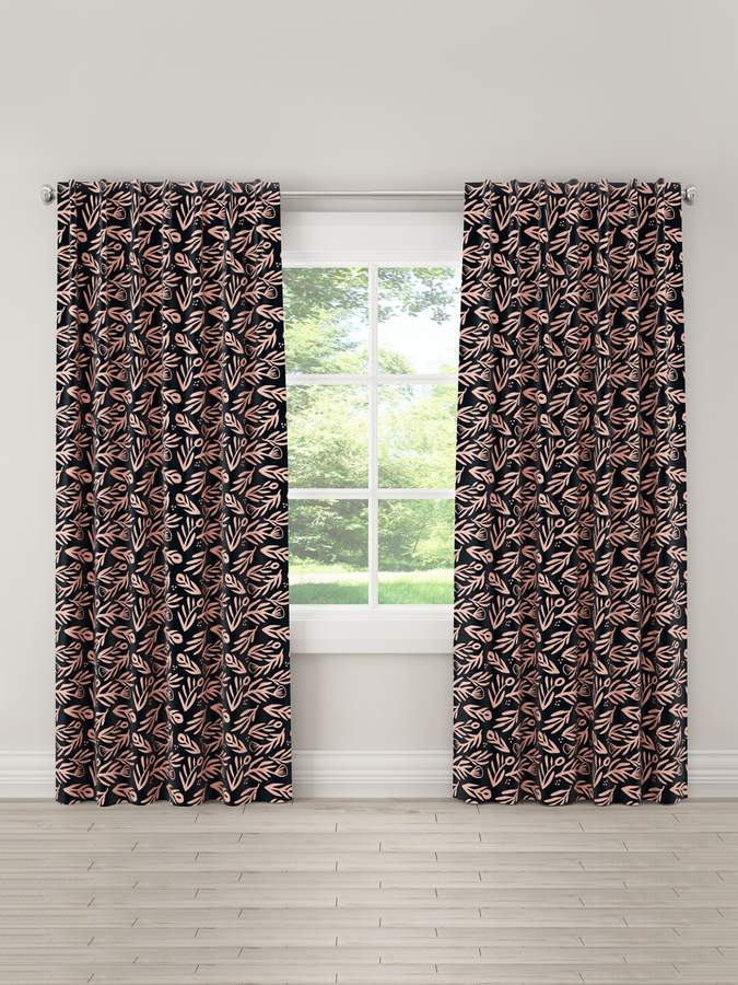 Floral Unlined Linen Curtain