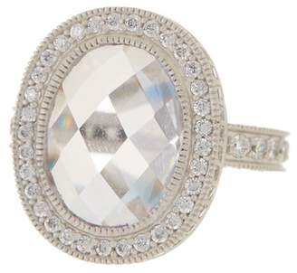 Freida Rothman Sterling Silver Radiance Pave CZ Edge Cocktail Ring - Size 8