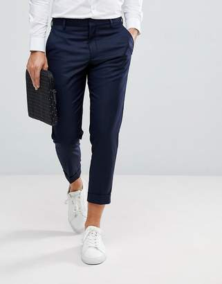 Selected Smart Cropped Pants In Navy