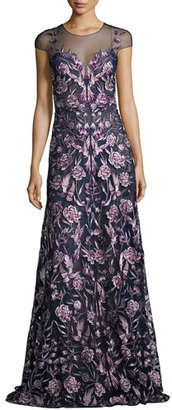 Marchesa Notte Cap-Sleeve Embroidered Floral Mesh Gown, Navy/Purple $1,295 thestylecure.com