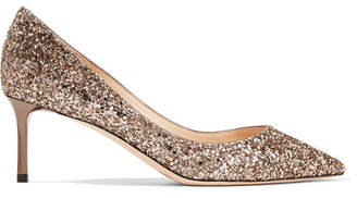 Jimmy Choo Romy 60 Sequined Leather Pumps - Gold