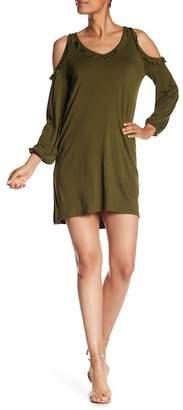 Kensie Ruffle Trim Cold Shoulder Dress