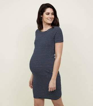 New Look Blue Ribbed Jersey Bodycon Dress
