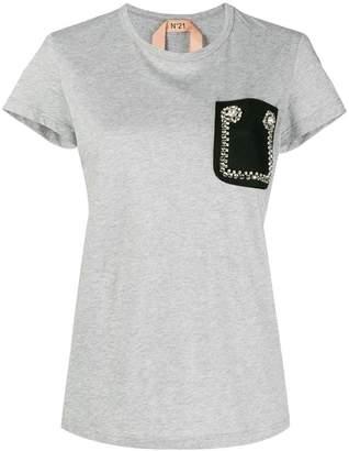 No.21 embellished pocket T-shirt