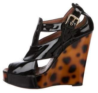 Giuseppe Zanotti Patent Leather Peep-Toe Wedges