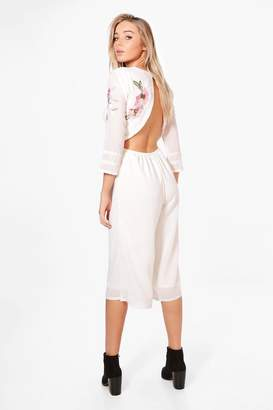 boohoo Open Back Embroidered Culotte Jumpsuit