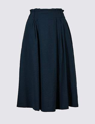 Marks and Spencer Pure Cotton Textured Full Midi skirt