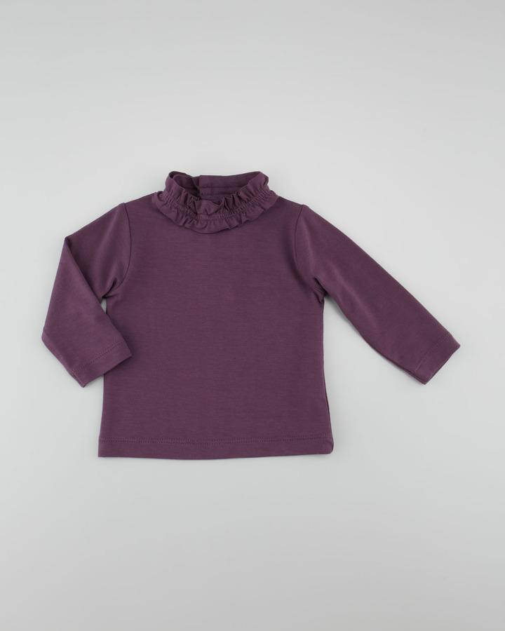 Lili Gaufrette Long-Sleeve Mock-Turtleneck, Purple, 3-18 Months