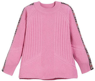 Burberry Cathie Knit Sweater w/ Check Down Sleeves, Size 4-14
