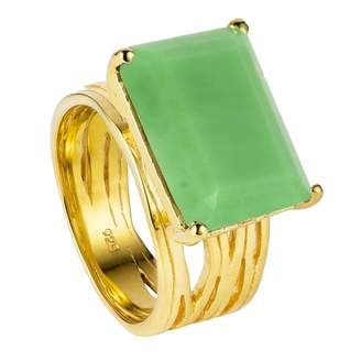 Neola - Pietra Gold Cocktail Ring With Chrysoprase
