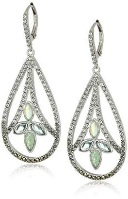 Judith Jack Sterling Silver and Leverback with Swarovski Marcasite Drop Earrings