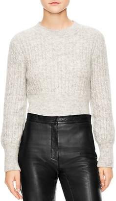 Sandro Soyeux Cropped Cable-Knit Sweater
