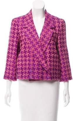 Chanel Double-Breasted Houndstooth Jacket