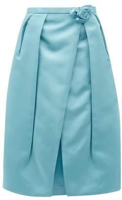 Prada Rosette Waist Duchess Satin Skirt - Womens - Blue