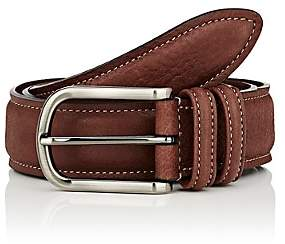 Barneys New York Men's Grained Leather Belt-Brown
