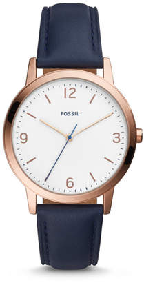 Fossil Blake Three-Hand Navy Leather Watch