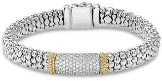 Lagos 18K Gold & Sterling Silver Diamond Lux Pavé Station Bracelet, 18mm