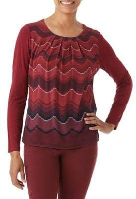 Olsen Wave-Print Cotton Long Sleeve Tee