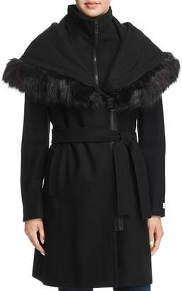 Calvin Klein Shawl Collar Faux Fur Trim Coat