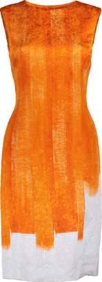 Oscar de la Renta Slim Brush Stroke Printed Dress
