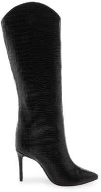 Schutz Women's Maryana Croc-Embossed Leather Boots - Black - Size 5