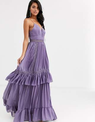 True Decadence cami strap tiered maxi dress with tie front in mauve