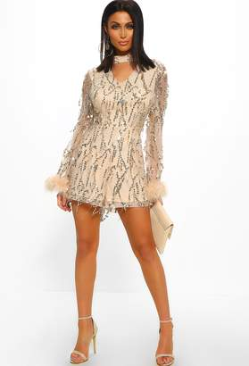 ea350fda96 Pink Boutique Love Lavish Nude Sequin Tassel Feather Trim Choker Playsuit