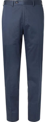 Canali Navy Slim-fit Cotton-blend Suit Trousers - Navy