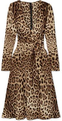 Dolce & Gabbana Leopard-print Crepe De Chine Midi Wrap-effect Dress - Leopard print