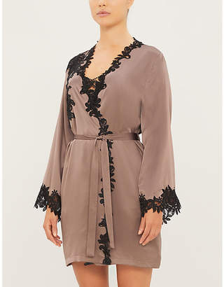 Marjolaine Glycine floral lace-trimmed silk-satin robe