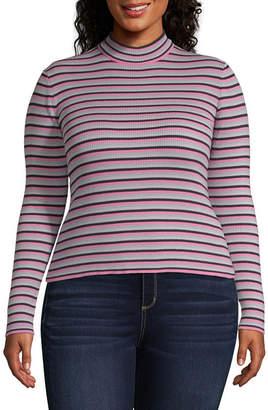 Arizona Womens Mock Neck Long Sleeve T-Shirt Juniors Plus