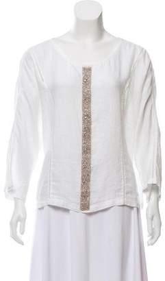 120% Lino Embellished Linen Top