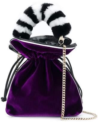 Les Petits Joueurs fur handle drawstring satchel