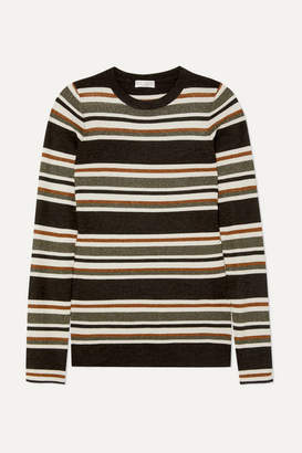 Brunello Cucinelli Metallic Striped Wool And Cashmere-blend Sweater - Brown