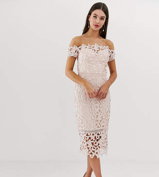 Bardot Chi Chi London Tall lace midi dress in blush pink