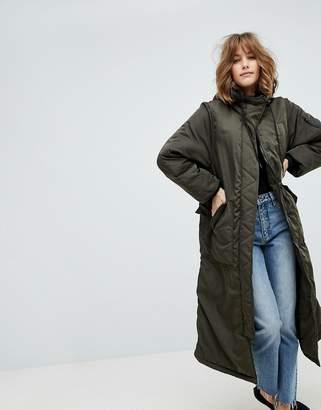 Monki Longline Padded Jacket