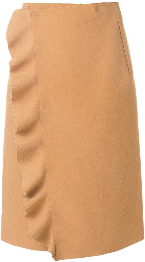 MSGM frilled detail wrap skirt
