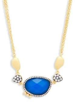Freida Rothman Crystal, Blue Lapis & Sterling Silver Pendant Necklace